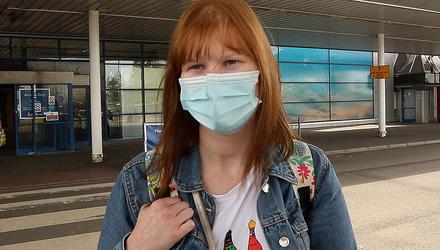 Flights: Cianna Manty at Belfast International Airport yesterday after her return from Portugal