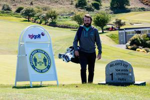 Howth Golf Club pro Alan O'Sullivan with new signage as shutdown is eased