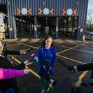 Infrastructure minister Nichola Mallon speaking at the Balmoral MOT centre in Belfast (Liam McBurney/PA)