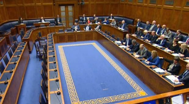 A half empty debating chamber at Stormont after it was recalled by MLAs wishing to protest against changes to Northern Ireland's abortion laws (NI Assembly TV)