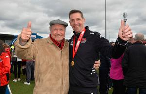 Crusaders' Stephen Baxter with his dad George after winning the Irish Premiership title in April this year