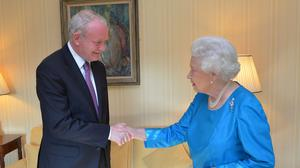 The Queen meets Martin McGuinness during a private audience at Hillsborough Castle