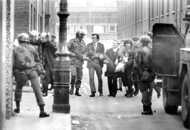 Paratroopers in Derry's Bogside on Bloody Sunday when 14 innocent people were shot dead