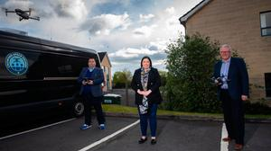 Flight path: Communities Minister Deirdre Hargey with Andrew McQuillan and Stephen Mills of Crowded Space Drones