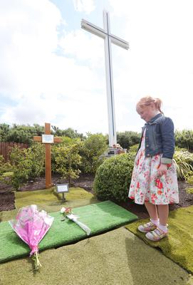 Maighread Cunningham (8) pays her respects