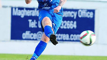 Former X Factor finalist Eoghan Quigg playing for Coagh United