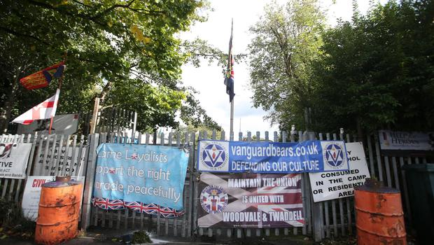 The loyalist protest camp which was under lock and key yesterday