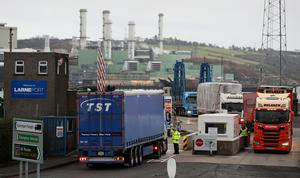 Vehicles arrive at Larne Port in Northern Ireland (PA)