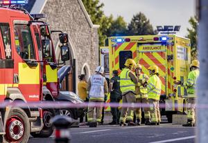 Emergency services at scene of the accident on Stewartstown Road
