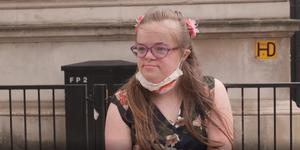 Heidi Crowter, a young woman with Down's syndrome from Coventry, who has presented a petition to Number 10 against the abortion law (PA Video/PA)