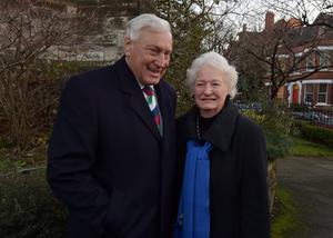 Former British Lion Willie John McBride and Dame Mary Peters