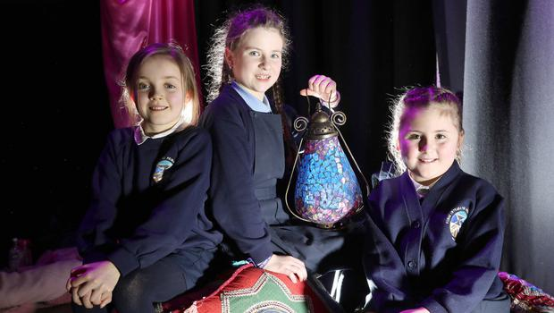 Forge Integrated Primary School pupils (from left) Eden, Cora and Holly, enjoy the Schools Think Arabic event at the Crescent Arts Centre in Belfast