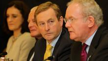 Taoiseach Enda Kenny with Northern Ireland Deputy First Minister Martin McGuinness at the British Irish Council meeting in the Isle of Man