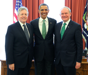 President Barack Obama is flanked by Peter Robinson and Martin McGuinness at the White House's St Patrick's celebrations in 2013