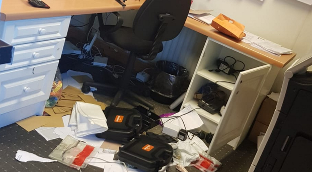 A ransacked room at the Southern Trust's ARC Centre in Bessbrook, Co Armagh
