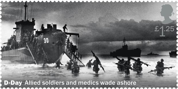 The D-Day landings feature on the stamps