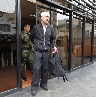 William Reid, father of Melissa Reid, leaves the anti-drug headquarters in Lima where his daughter and Michaella McCollum are being held.