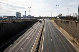 A very quiet Westlink in Belfast yesterday