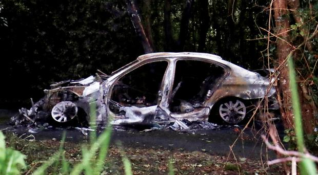 The silver BMW which was involved in the abduction of Kevin Lunney near Kinawley, Co Fermanagh