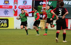 Glentoran's Jordan Stewart celebrates scoring a goal at The Oval in Belfast