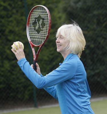 Patricia McKnight at the blind tennis match at Windsor tennis club in south Belfast.