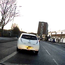 Nichola Mallon's white Nissan Leaf car moving into a bus lane on Belfast's Shore Road yesterday