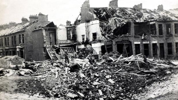 One of many scenes of devastation in Belfast during the Blitz bombing raids of April and May 1941