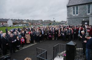 The crowd assembled at the service of remembrance for the victims held at the Town Hall in Bessbrook yesterday to mark the 40th anniversary of the atrocity
