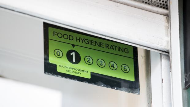The food hygiene rating that has led to the dispute between Mr Bradley and Belfast City