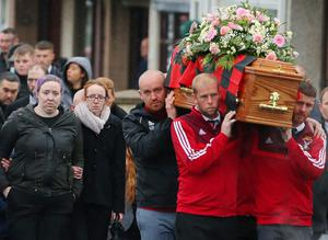 Sad farewell: Friends and family including her mother Martha (left) at the funeral of Brooke Reid McMaster yesterday