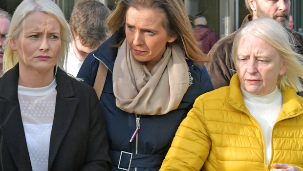 Charlotte Murray's twin sister Denise (left) and mother Mary (right) leave court yesterday