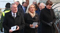 Finance Minister Conor Murphy, Deputy First Minister Michelle O'Neill and First Minister Arlene Foster attend the funeral of Seamus Mallon (Liam McBurney/PA)