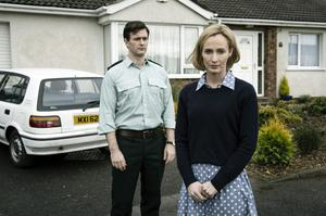 Actors Glenn Wallace and Genevieve O'Reilly as Trevor and Hazel Buchanan in ITV's The Secret