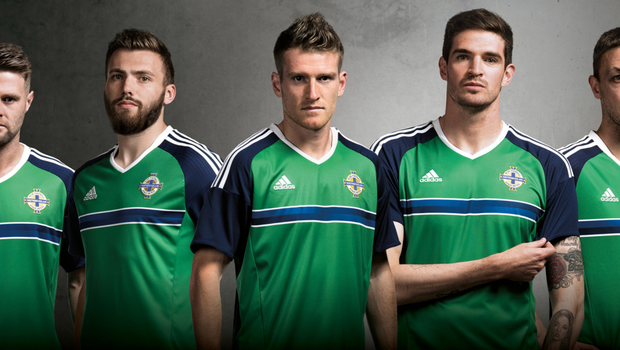 New look: players Oliver Norwood, Stuart Dallas, Steven Davis, Kyle Lafferty and Chris Baird