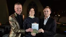 Glenn Patterson, playwright Shannon Sickles and ex-MLA Conall McDevitt at the launch in Duncairn Arts Centre