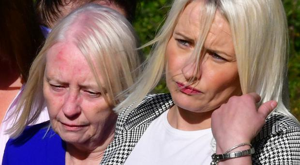 Charlotte's mother Mary and twin sister Denise leave Dungannon Crown Court