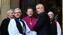 Dean Stephen Forde, Catholic Archbishop Eamon Martin and Prince Andrew at the Armistice Day centenary service at St Anne's Cathedral yesterday