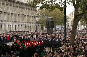 The scene in Whitehall during the wreath-laying ceremony
