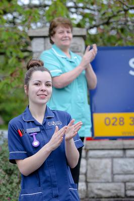 Members of staff join the Clap for Carers at Sandringham Care Home in Portadown