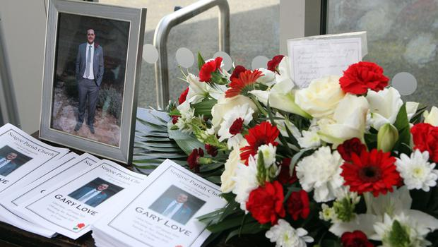 Flowers at Gary Love's funeral in Portadown