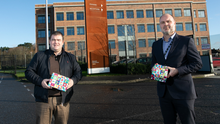 Festive push: Shane Smith from Innovation Factory (on right) and Seamus Corr from Black Mountain Shared Space project