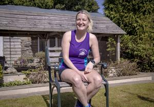 Natalie Bowbanks, who is going to run the London Marathon in her parents' back garden