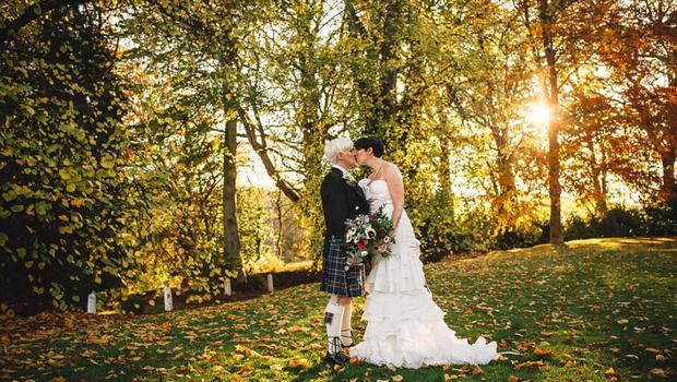 Vicky Trimble (left) and Rosalind Stephens wed in Scotland