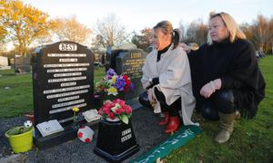 Visiting George Best's grave yesterday were Michelle McBride with Lyn Smyth
