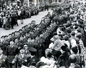 A UDR parade takes place outside Belfast City Hall in January 1976