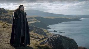 Jon Snow, played by Kit Harington, looks out from Fairhead during Game Of Thrones