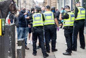 Police and protesters in Glasgow