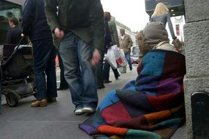 Police officers on patrol in Belfast say the city centre begging problem is getting out of control, and handing over money is just fuelling the issue. File image