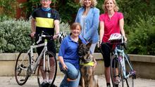 Jacqui Swan (centre) and guide dog Twigs with Mark Hazelton of Tourism NI, Lesley Macauley of Guide Dogs NI and Ruith Morgan of Tourism NI