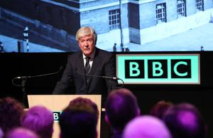 BBC director-general Lord Tony Hall during a visit to Broadcasting House in Belfast